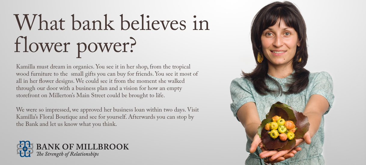 Bank of Millbrook identity and advertising design by Drake Creative