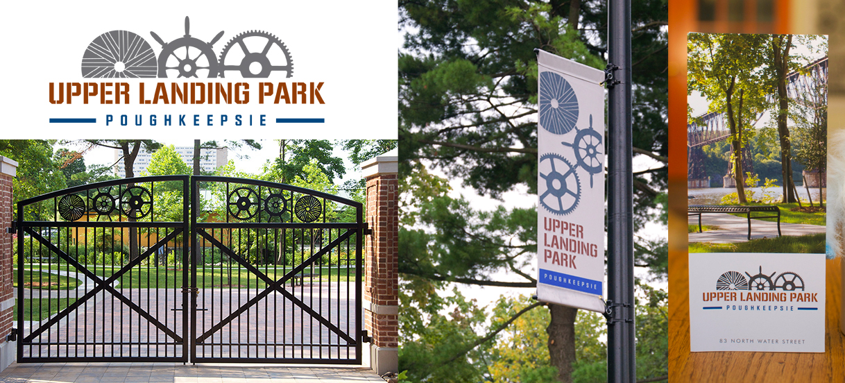 Upper Landing Park sign system design by Drake Creative