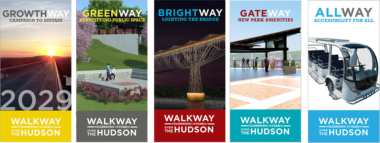 Walkway Over the Hudson 10 year campaign design by Drake Creative